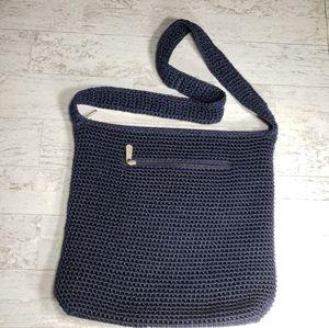 The Sak Shoulder Bag Navy Woven Crochet 3 Zippers